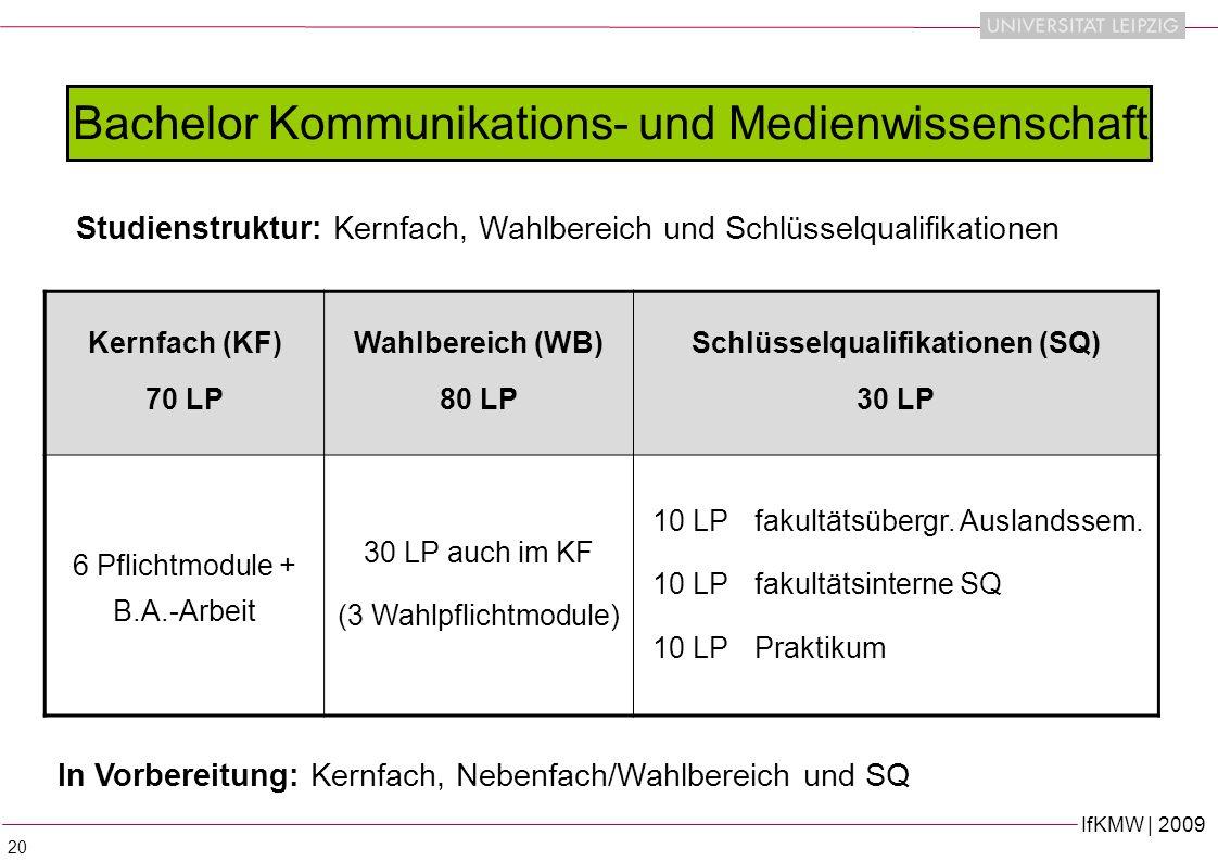 IfKMW | 2009 20 Studienstruktur: Kernfach, Wahlbereich und Schlüsselqualifikationen Bachelor Kommunikations- und Medienwissenschaft Kernfach (KF) 70 LP Wahlbereich (WB) 80 LP Schlüsselqualifikationen (SQ) 30 LP 6 Pflichtmodule + B.A.-Arbeit 30 LP auch im KF (3 Wahlpflichtmodule) 10 LPfakultätsübergr.