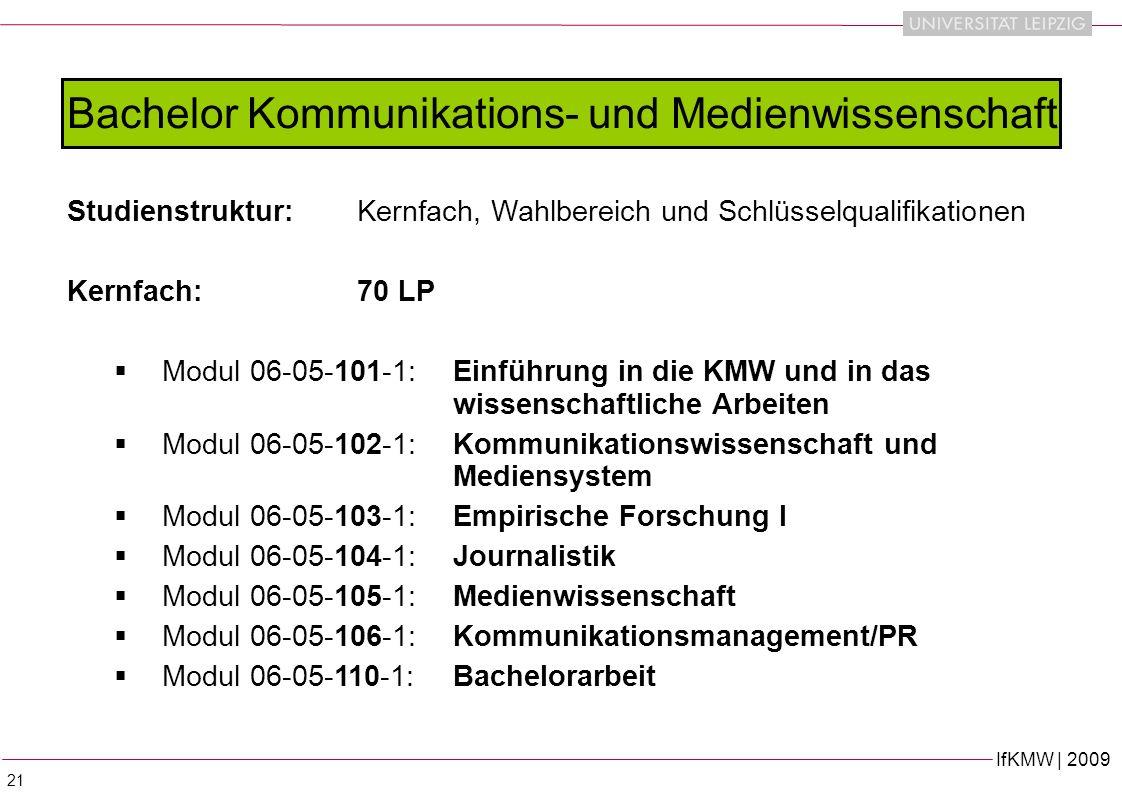 IfKMW | 2009 21 Bachelor Kommunikations- und Medienwissenschaft Studienstruktur:Kernfach, Wahlbereich und Schlüsselqualifikationen Kernfach: 70 LP Modul 06-05-101-1:Einführung in die KMW und in das wissenschaftliche Arbeiten Modul 06-05-102-1: Kommunikationswissenschaft und Mediensystem Modul 06-05-103-1: Empirische Forschung I Modul 06-05-104-1:Journalistik Modul 06-05-105-1: Medienwissenschaft Modul 06-05-106-1: Kommunikationsmanagement/PR Modul 06-05-110-1: Bachelorarbeit