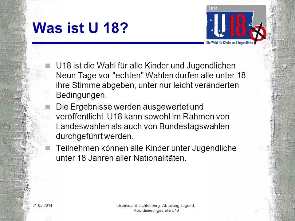 Fazit und Ausblick Zur Abgeordnetenhauswahl 2011 wurde das Projekt U18 erstmalig wissenschaftlich in allen Berliner Bezirken begleitet.