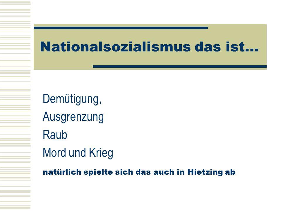 Nationalsozialismus das ist... Demütigung, Ausgrenzung Raub Mord und Krieg natürlich spielte sich das auch in Hietzing ab