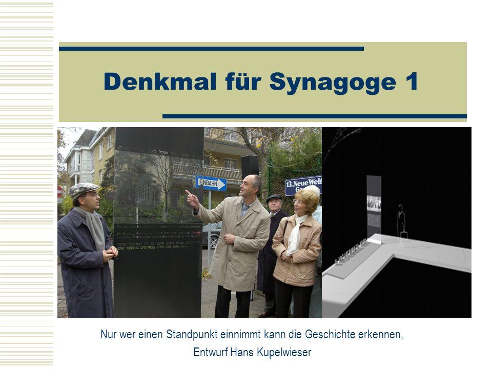 Denkmal für Synagoge 1 Nur wer einen Standpunkt einnimmt kann die Geschichte erkennen, Entwurf Hans Kupelwieser