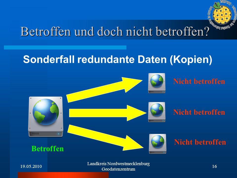 19.05.2010 Landkreis Nordwestmecklenburg Geodatenzentrum 16 Betroffen und doch nicht betroffen? Sonderfall redundante Daten (Kopien) Betroffen Nicht b