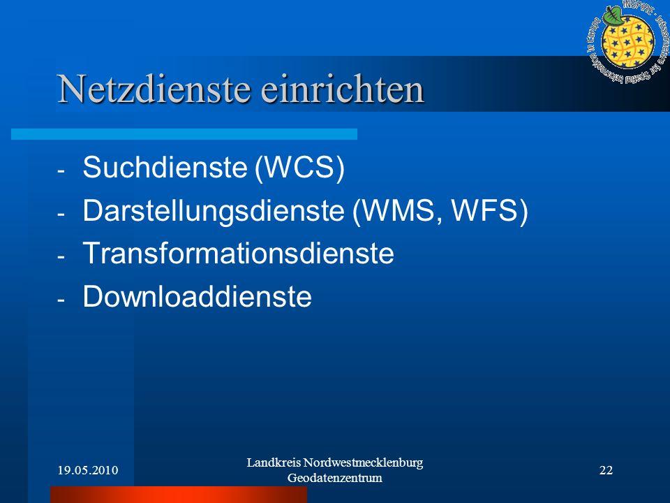 19.05.2010 Landkreis Nordwestmecklenburg Geodatenzentrum 22 Netzdienste einrichten - Suchdienste (WCS) - Darstellungsdienste (WMS, WFS) - Transformati