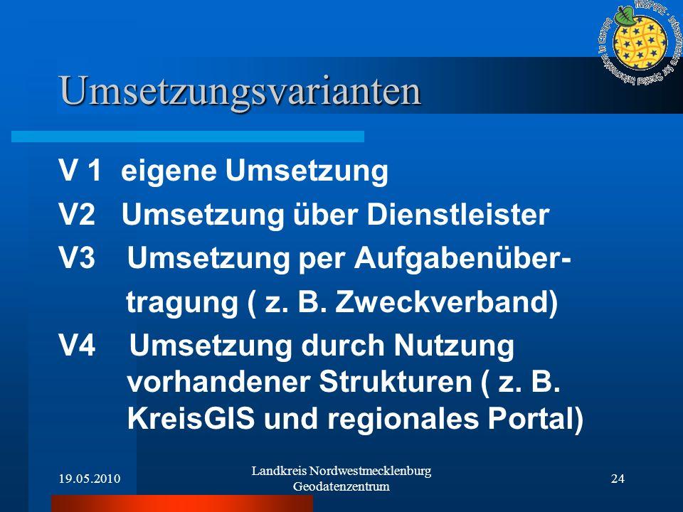 19.05.2010 Landkreis Nordwestmecklenburg Geodatenzentrum 24 Umsetzungsvarianten V 1 eigene Umsetzung V2 Umsetzung über Dienstleister V3Umsetzung per A