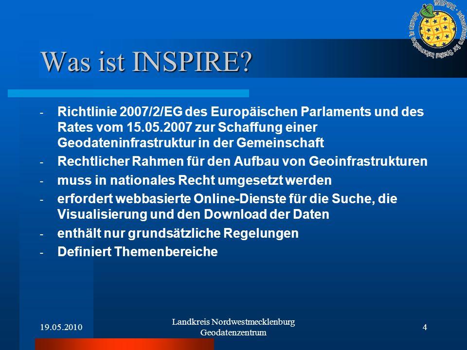 19.05.2010 Landkreis Nordwestmecklenburg Geodatenzentrum 4 Was ist INSPIRE? - Richtlinie 2007/2/EG des Europäischen Parlaments und des Rates vom 15.05