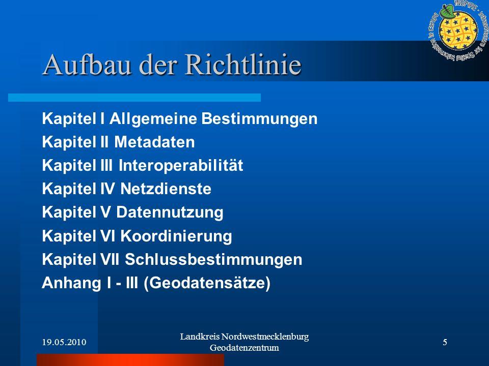 19.05.2010 Landkreis Nordwestmecklenburg Geodatenzentrum 5 Aufbau der Richtlinie Kapitel I Allgemeine Bestimmungen Kapitel II Metadaten Kapitel III In