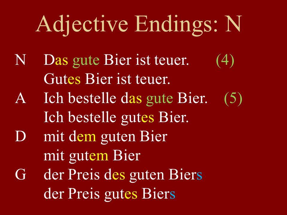 Adjective Endings: N NDas gute Bier ist teuer.(4) Gutes Bier ist teuer.
