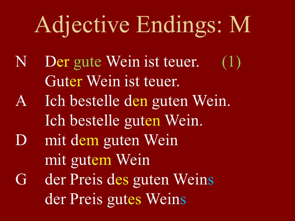 Adjective Endings: M NDer gute Wein ist teuer.(1) Guter Wein ist teuer.
