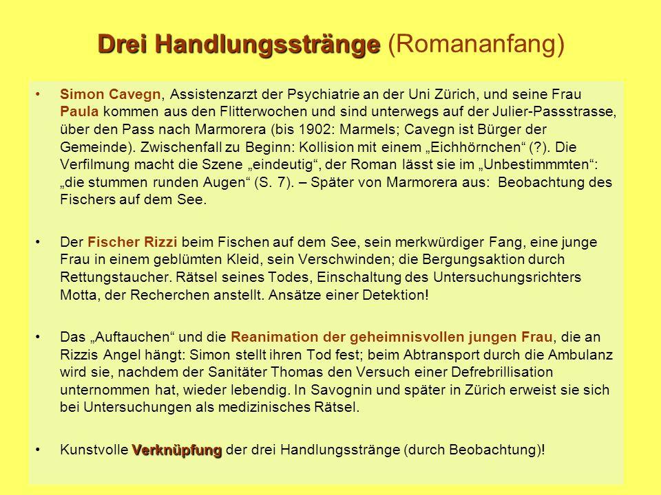 Drei Handlungsstränge (Romananfang) Simon Cavegn, Assistenzarzt der Psychiatrie an der Uni Zürich, und seine Frau Paula kommen aus den Flitterwochen u