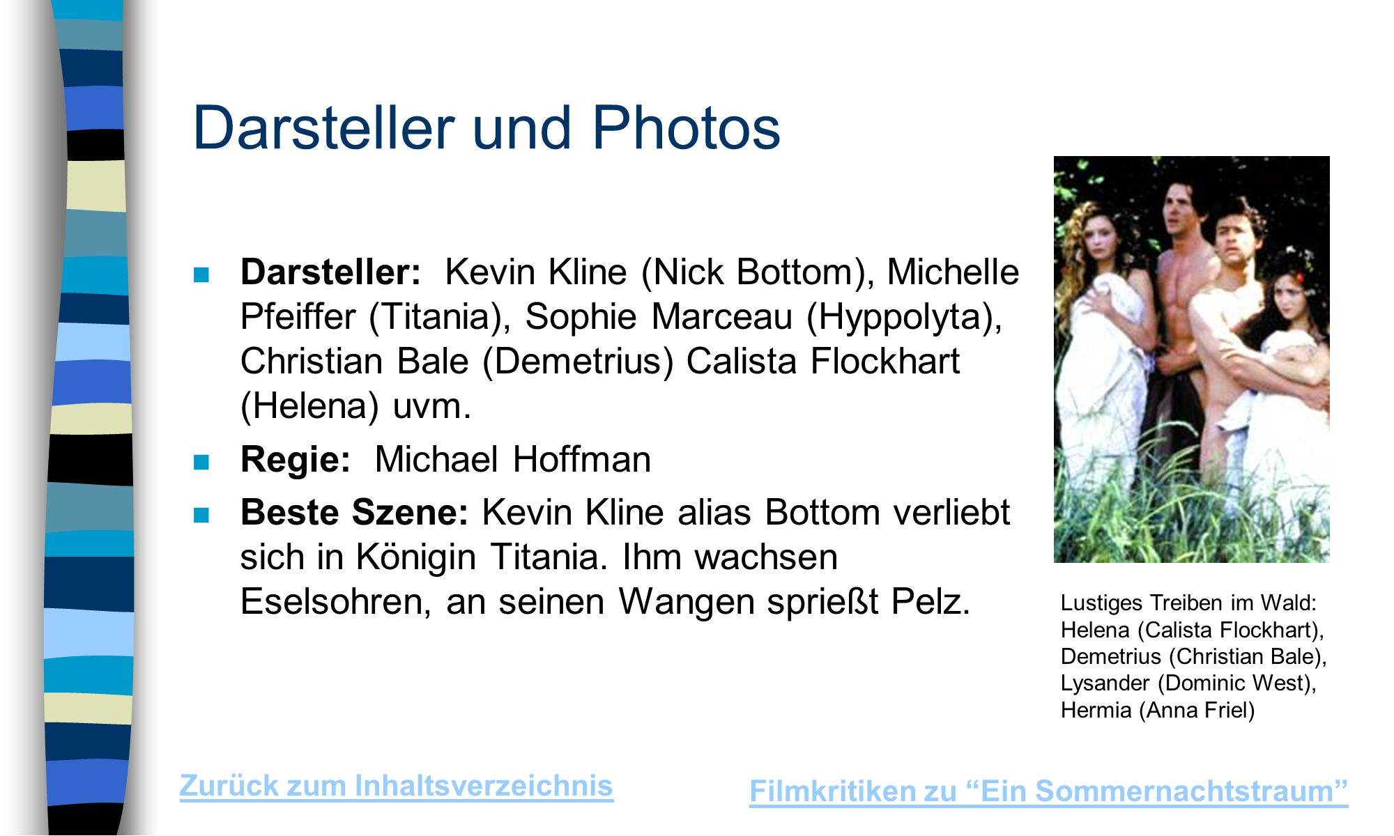 Darsteller und Photos n Darsteller: Kevin Kline (Nick Bottom), Michelle Pfeiffer (Titania), Sophie Marceau (Hyppolyta), Christian Bale (Demetrius) Calista Flockhart (Helena) uvm.