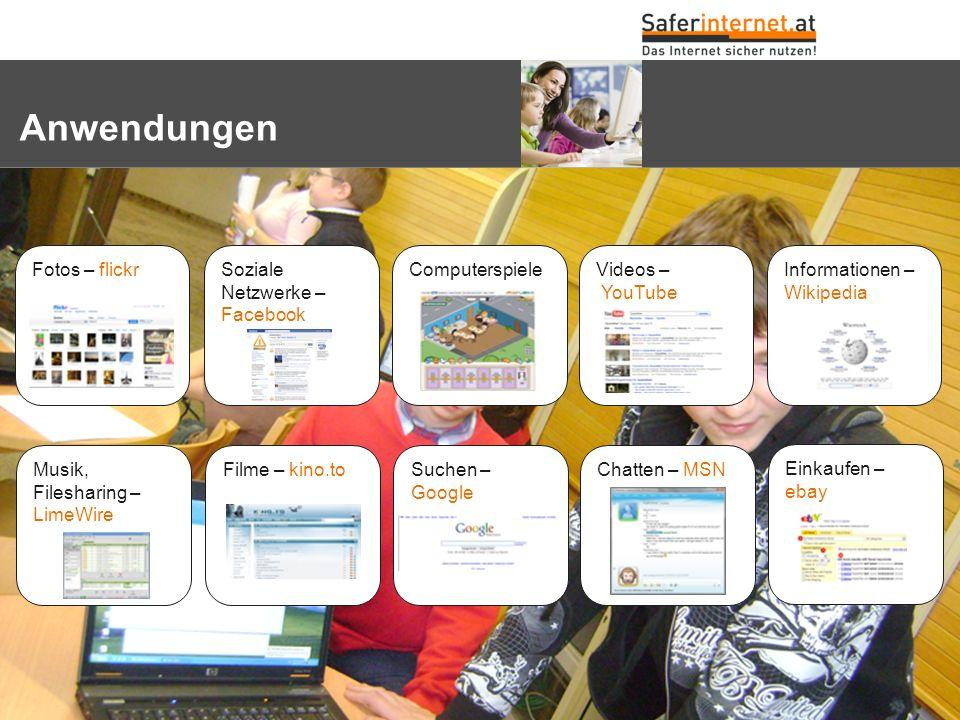 Anwendungen Soziale Netzwerke – Facebook Chatten – MSN Einkaufen – ebay Videos – YouTube Informationen – Wikipedia ComputerspieleFotos – flickr Musik,