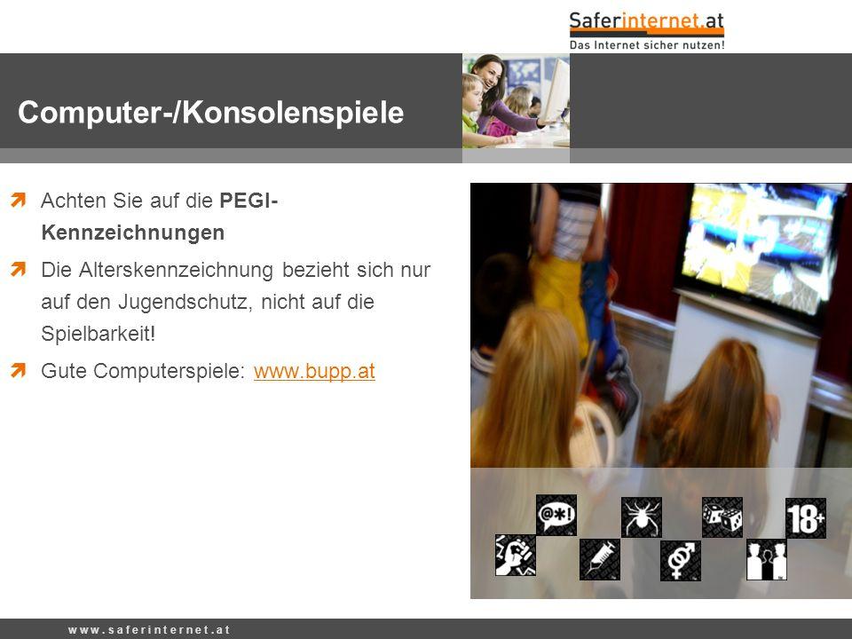 Achten Sie auf die PEGI- Kennzeichnungen Die Alterskennzeichnung bezieht sich nur auf den Jugendschutz, nicht auf die Spielbarkeit! Gute Computerspiel
