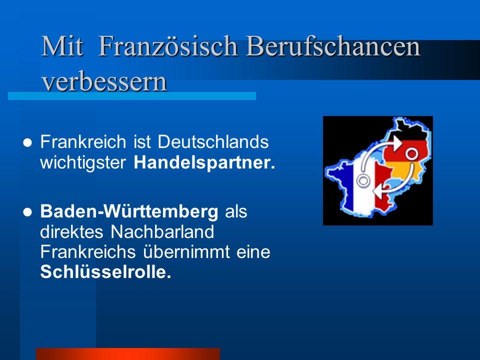 Mit Französisch Berufschancen verbessern Frankreich ist Deutschlands wichtigster Handelspartner.