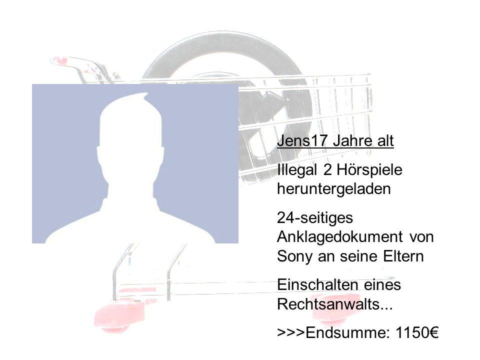 Betroffene II Jens17 Jahre alt Illegal 2 Hörspiele heruntergeladen 24-seitiges Anklagedokument von Sony an seine Eltern Einschalten eines Rechtsanwalts...