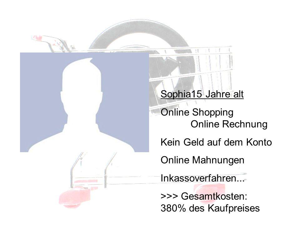 Betroffene III Sophia15 Jahre alt Online Shopping Online Rechnung Kein Geld auf dem Konto Online Mahnungen Inkassoverfahren...