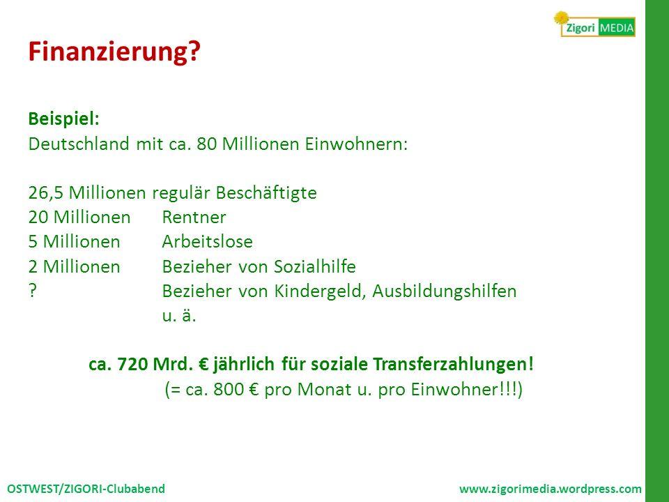 Finanzierung? Beispiel: Deutschland mit ca. 80 Millionen Einwohnern: 26,5 Millionen regulär Beschäftigte 20 MillionenRentner 5 MillionenArbeitslose 2