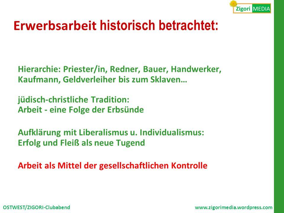 Erwerbsarbeit historisch betrachtet: Hierarchie: Priester/in, Redner, Bauer, Handwerker, Kaufmann, Geldverleiher bis zum Sklaven… jüdisch-christliche