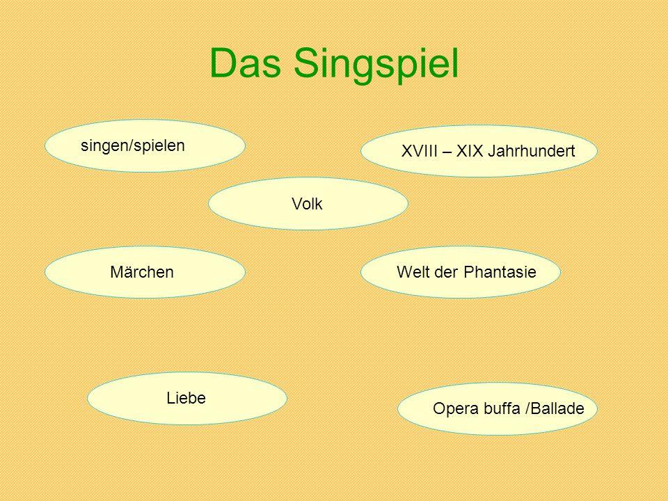 Das Singspiel singen/spielen XVIII – XIX Jahrhundert MärchenWelt der Phantasie Liebe Opera buffa /Ballade Volk
