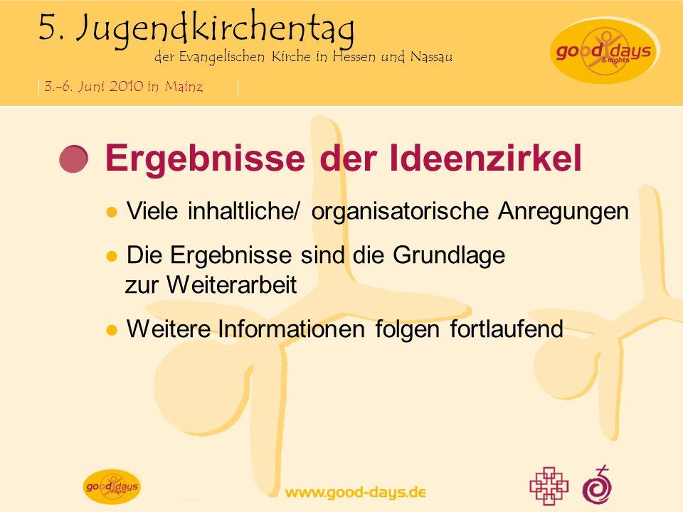5. Jugendkirchentag der Evangelischen Kirche in Hessen und Nassau 3.-6. Juni 2010 in Mainz Ergebnisse der Ideenzirkel Viele inhaltliche/ organisatoris