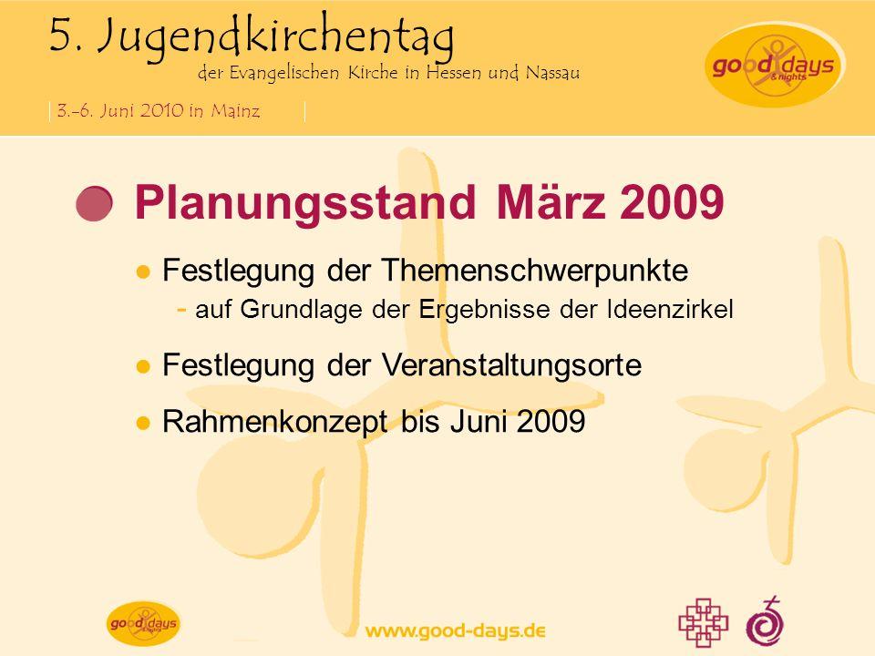 5. Jugendkirchentag der Evangelischen Kirche in Hessen und Nassau 3.-6. Juni 2010 in Mainz Planungsstand März 2009 Festlegung der Themenschwerpunkte -
