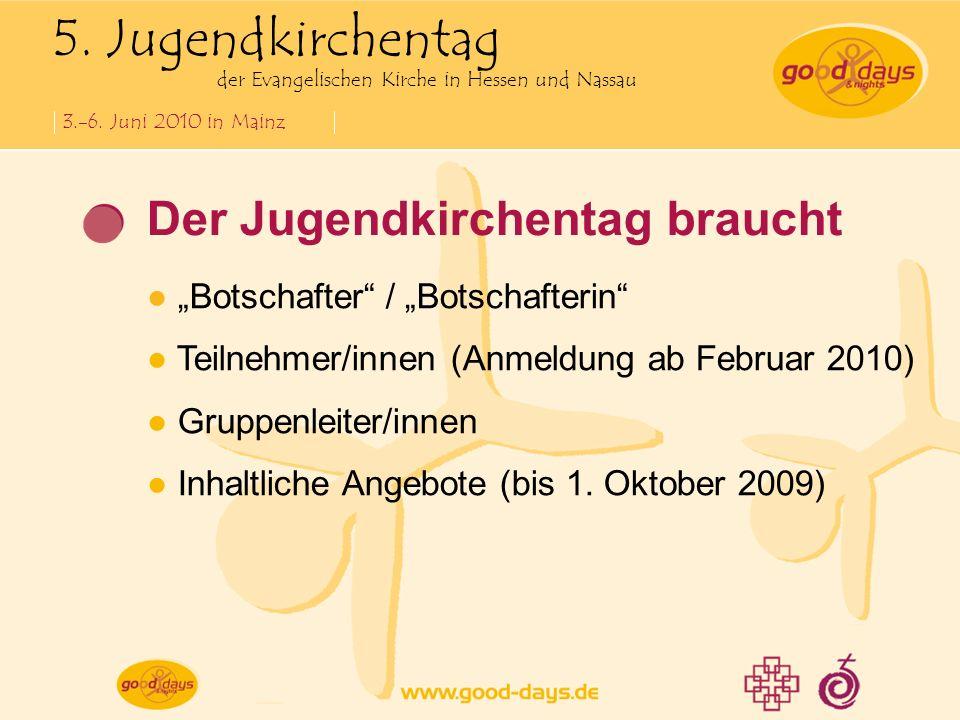 5. Jugendkirchentag der Evangelischen Kirche in Hessen und Nassau 3.-6. Juni 2010 in Mainz Der Jugendkirchentag braucht Botschafter / Botschafterin Te