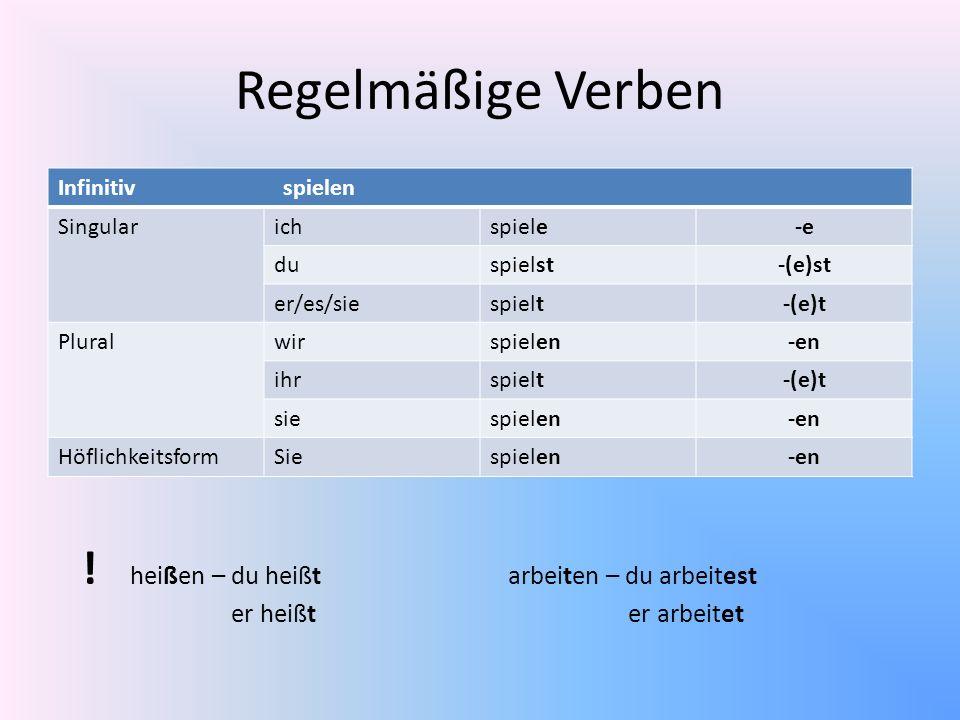Regelmäßige Verben Infinitiv spielen Singularichspiele-e duspielst-(e)st er/es/siespielt-(e)t Pluralwirspielen-en ihrspielt-(e)t siespielen-en Höflich