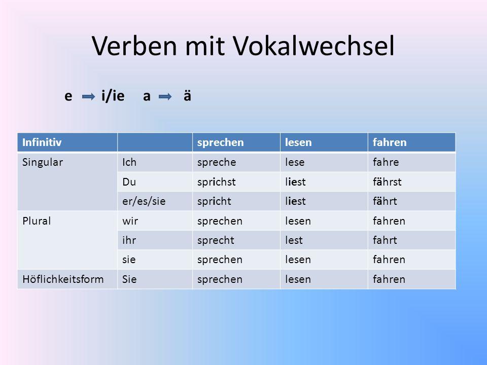 Verben mit Vokalwechsel Infinitivsprechenlesenfahren SingularIchsprechelesefahre Dusprichstliestfährst er/es/siesprichtliestfährt Pluralwirsprechenles