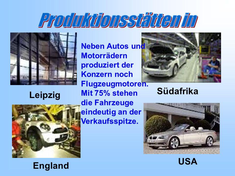 Leipzig Südafrika England USA Neben Autos und Motorrädern produziert der Konzern noch Flugzeugmotoren.