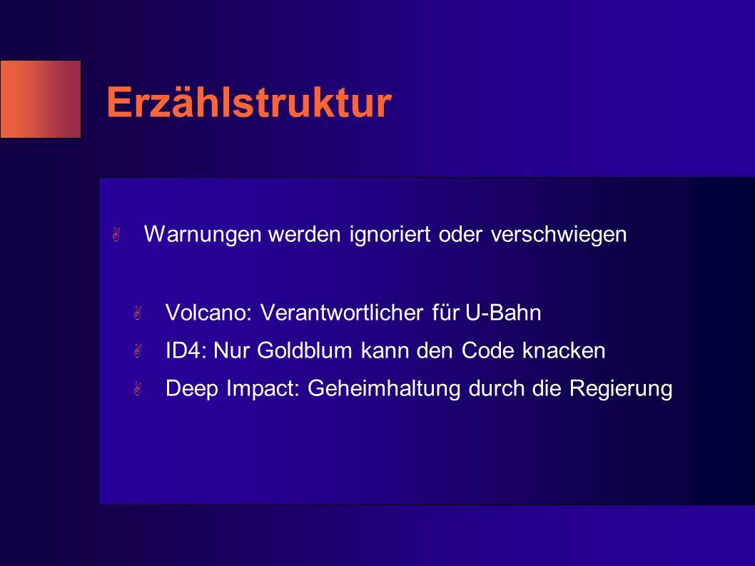 Erzählstruktur A Warnungen werden ignoriert oder verschwiegen A Volcano: Verantwortlicher für U-Bahn A ID4: Nur Goldblum kann den Code knacken A Deep