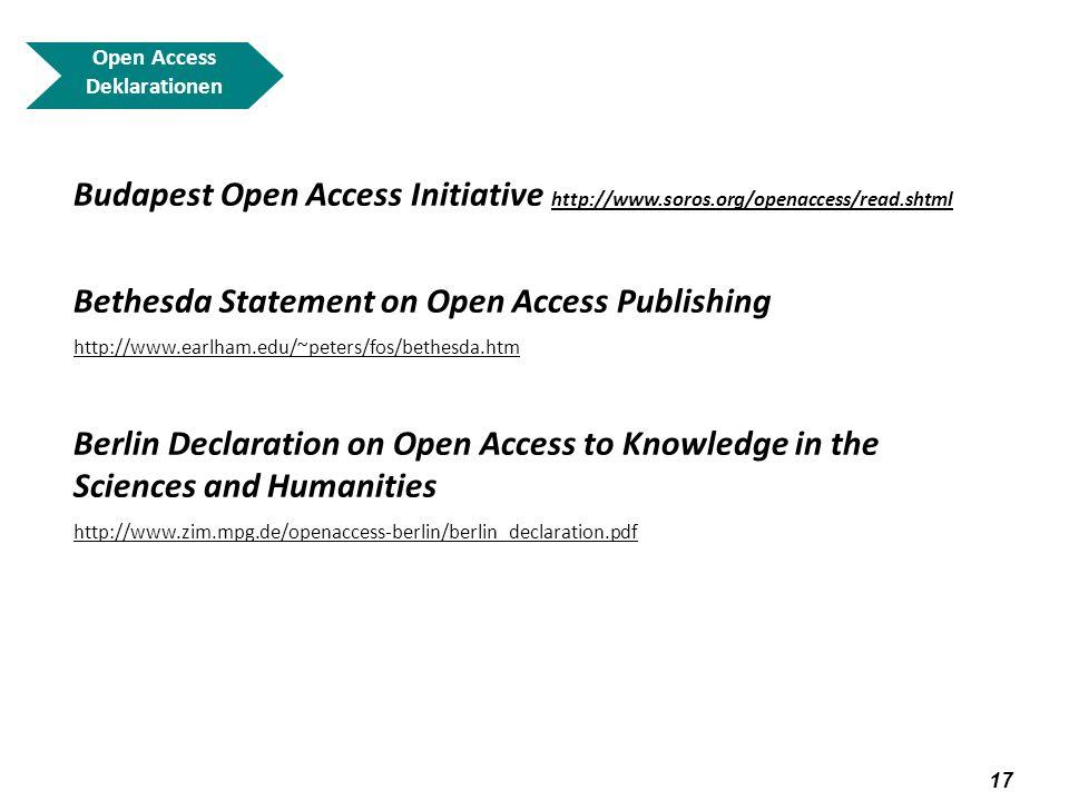 18 Open Access Deklarationen Budapest Open Access Initiative http://www.soros.org/openaccess/read.shtml http://www.soros.org/openaccess/read.shtml 1.