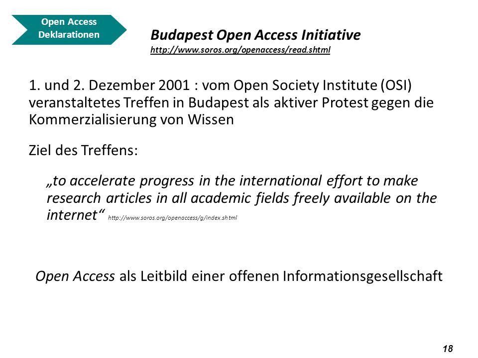 19 Open Access Deklarationen Budapest Open Access Initiative http://www.soros.org/openaccess/read.shtml http://www.soros.org/openaccess/read.shtml Die BOAI (Grundsatzerklärung über Strategien zur Realisierung von Open Access) Wesentliches Ziel: to aid the transition to open access and to make open-access publishing economically self-sustaining http://www.soros.org/openaccess/