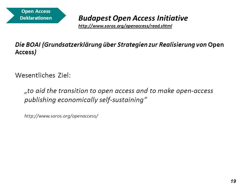 20 Open Access Deklarationen Budapest Open Access Initiative http://www.soros.org/openaccess/read.shtml http://www.soros.org/openaccess/read.shtml Die BOAI (Grundsatzerklärung über Strategien zur Realisierung von Open Acces) Was bedeutet dies für die Nutzer.