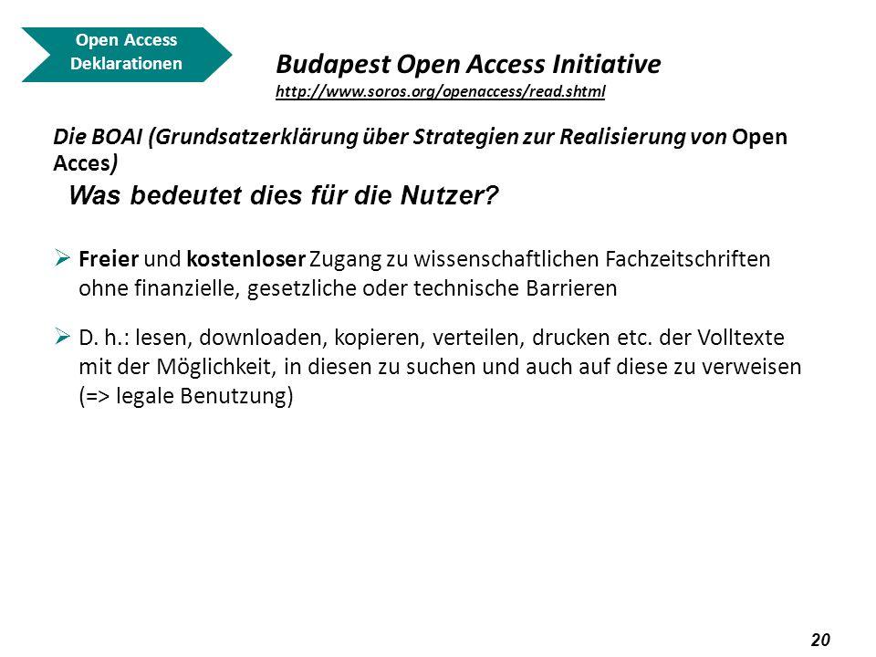 21 Open Access Deklarationen Budapest Open Access Initiative http://www.soros.org/openaccess/read.shtml http://www.soros.org/openaccess/read.shtml Die BOAI (Grundsatzerklärung über Strategien zur Realisierung von Open Acces) Was bedeutet dies für die Wissenschaftler bzw.
