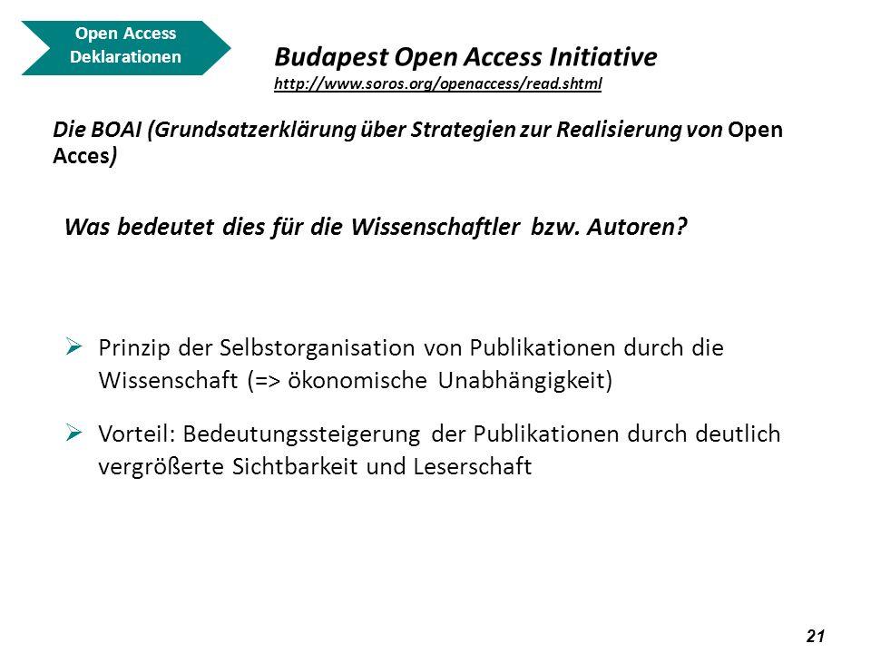 22 Open Access Deklarationen Berlin Declaration on Open Access to Knowledge in the Sciences and Humanities Berliner Erklärung über offenen Zugang zu wissenschaftlichem Wissen Basiert auf dem Bethesda Statement, der BOAI und der ECHO (European Cultural Heritage Online) Charta unterzeichnet am 22.