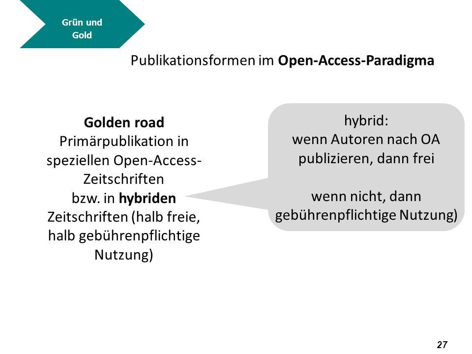 28 Grün und Gold Golden road http://www.doaj.org/