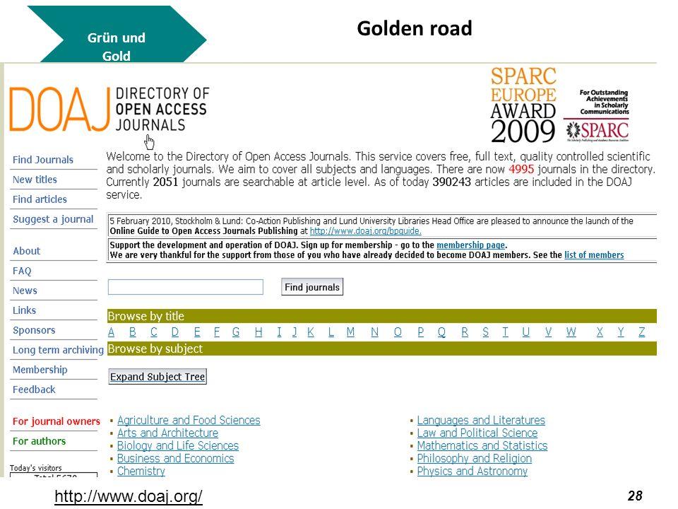 29 Grün und Gold Golden road http://www.doaj.org/