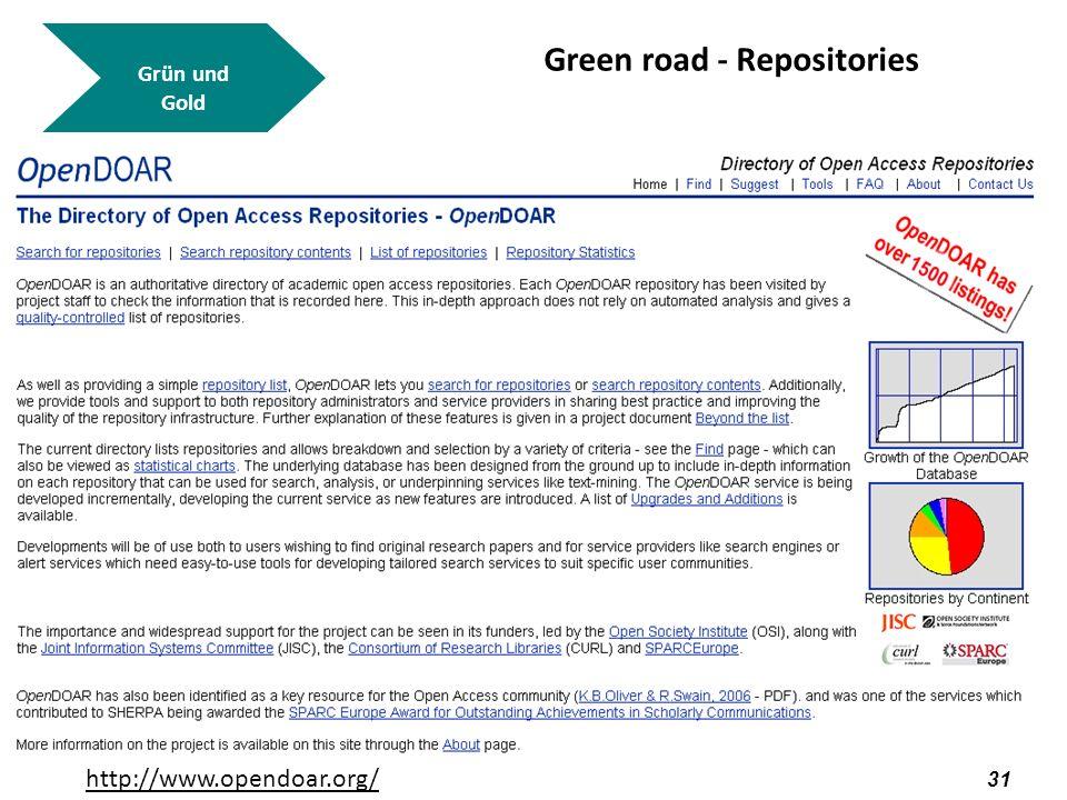 32 Grün und Gold Green road - Repositories http://www.opendoar.org/