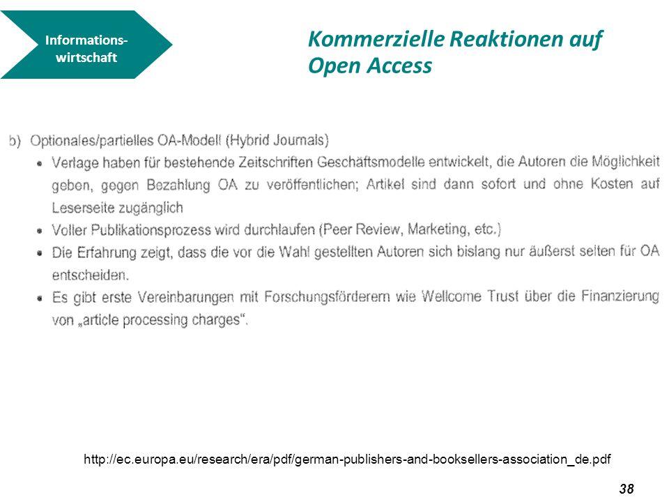39 Kommerzielle Reaktionen auf Open Access Open Choice bei Springer Informations- wirtschaft