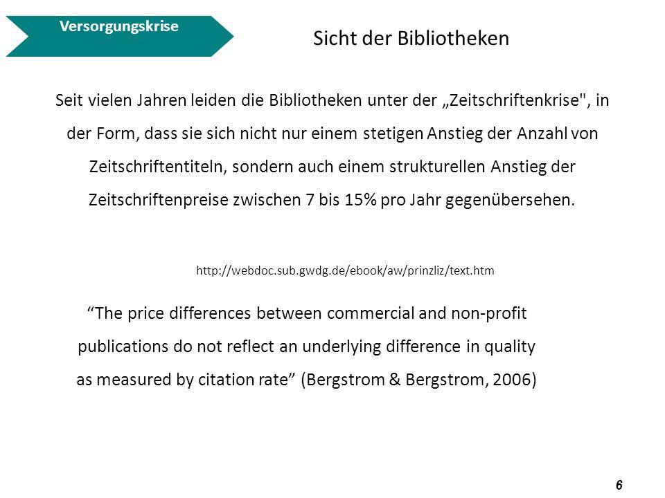 7 http://www.peerproject.eu/fileadmin/media/ppt_about_peer/Bruch_20081030.pdf Versorgungskrise Sicht der Bibliotheken und Nutzer