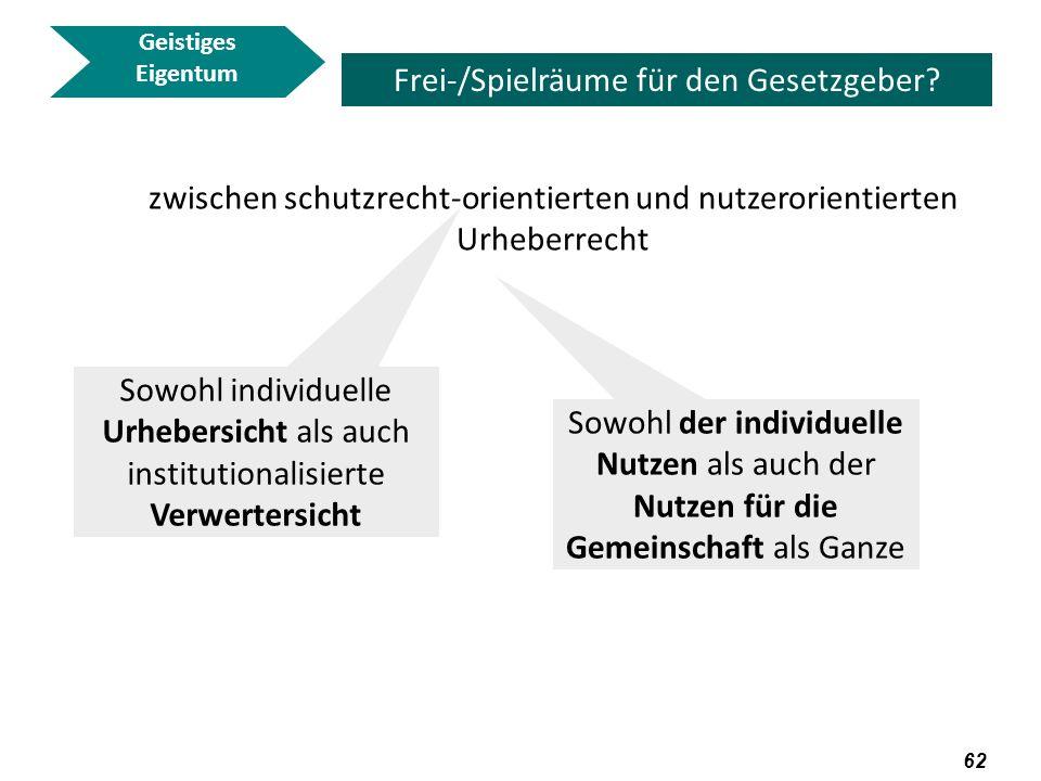 63 Geistiges Eigentum Frei-/Spielräume für den Gesetzgeber.