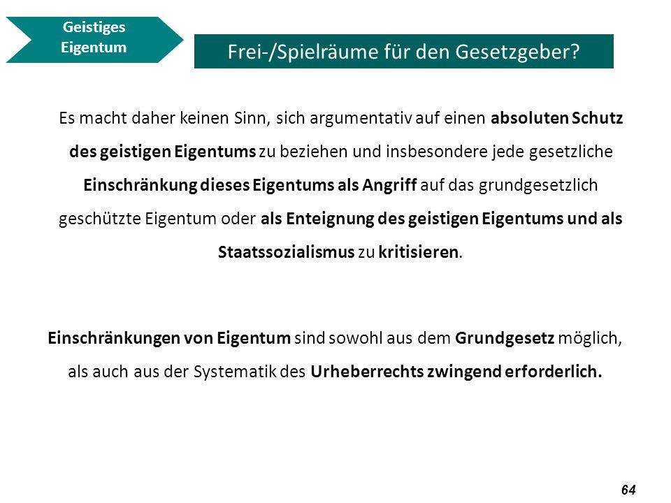 65 Geistiges Eigentum Frei-/Spielräume für den Gesetzgeber.