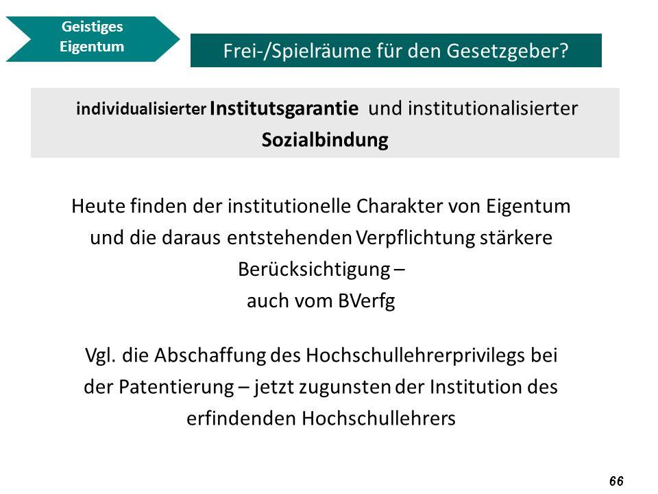67 Geistiges Eigentum Frei-/Spielräume für den Gesetzgeber.