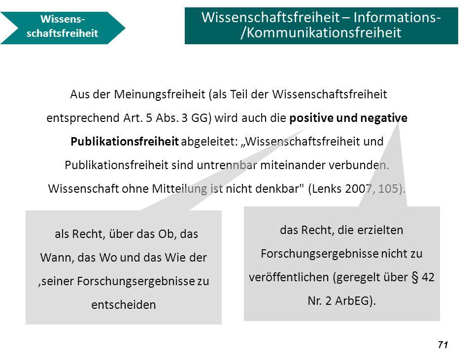 72 Wissenschaftsfreiheit – Informations- /Kommunikationsfreiheit Ist Wissenschafts-/Publikationsfreiheit eingeschränkt, wenn ein Wissenschaftler gezwungen wird, seine Erfindung seiner Hochschule zur Patentierung anzubieten, bevor er sie publizieren kann.