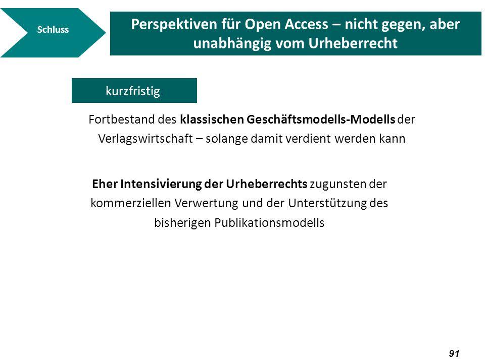 92 Schluss Perspektiven für Open Access – nicht gegen, aber unabhängig vom Urheberrecht mittelfristig: Sekundärpublikationen können auch rechtlich verbindlich gemacht werden Bei den kommerziellen Geschäftsmodellen-Modellen dürften hybride Modelle weiter entwickelt werden und sich durchsetzen