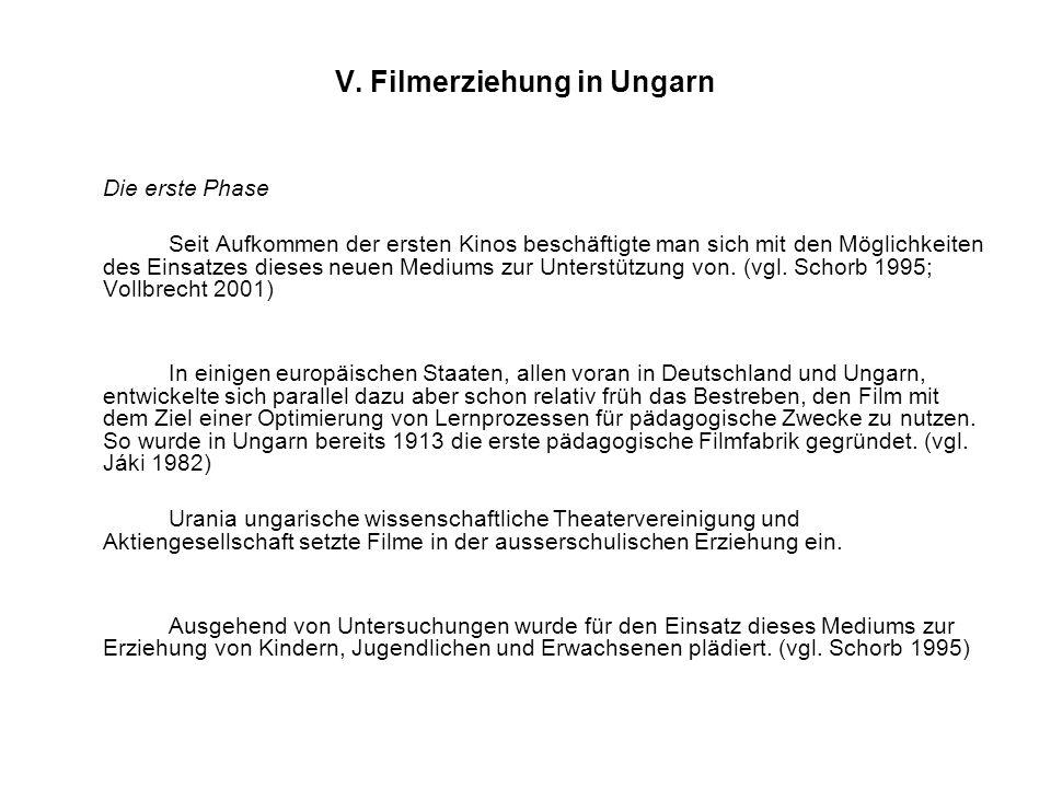 V. Filmerziehung in Ungarn Die erste Phase Seit Aufkommen der ersten Kinos beschäftigte man sich mit den Möglichkeiten des Einsatzes dieses neuen Medi
