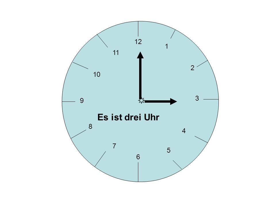 12 3 6 9 1 2 4 5 7 8 10 11 5 - Es ist fünf nach… 30 - Es ist halb …. 10 - Es ist zehn nach… 15 - Es ist viertel nach… 20 - Es ist zwanzig nach… 25 - E