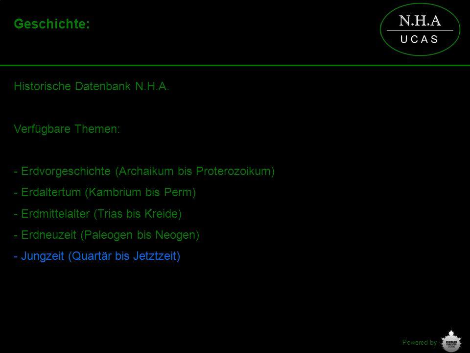 Powered by Geschichte: Historische Datenbank N.H.A. Verfügbare Themen: - Erdvorgeschichte (Archaikum bis Proterozoikum) - Erdaltertum (Kambrium bis Pe
