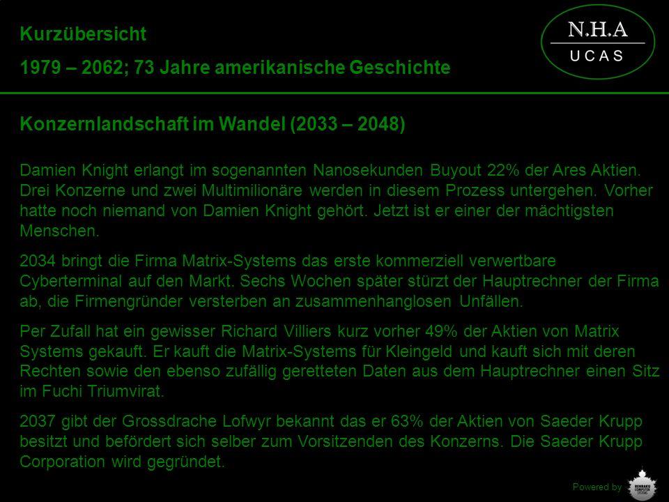 Powered by Kurzübersicht 1979 – 2062; 73 Jahre amerikanische Geschichte Konzernlandschaft im Wandel (2033 – 2048) Damien Knight erlangt im sogenannten