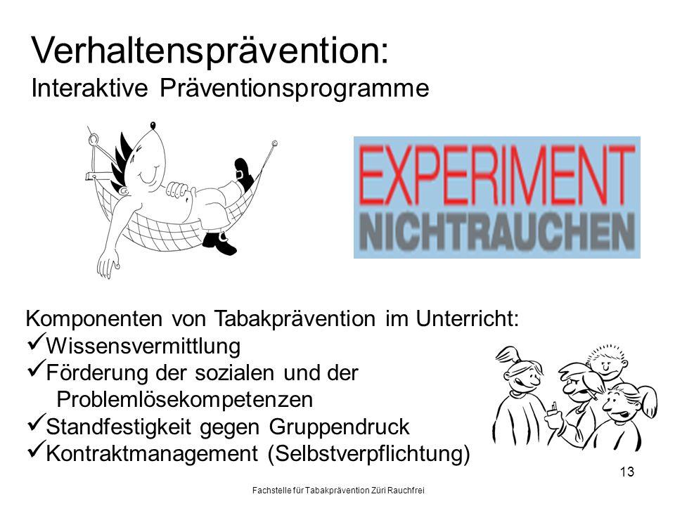 Fachstelle für Tabakprävention Züri Rauchfrei 13 Verhaltensprävention: Interaktive Präventionsprogramme Komponenten von Tabakprävention im Unterricht: