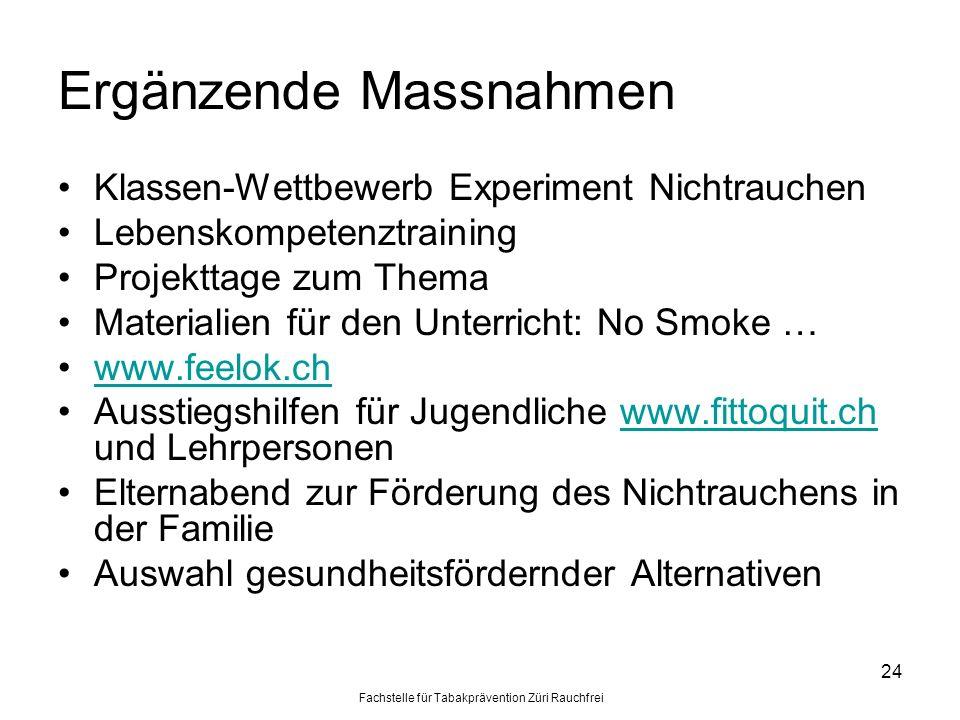 Fachstelle für Tabakprävention Züri Rauchfrei 24 Ergänzende Massnahmen Klassen-Wettbewerb Experiment Nichtrauchen Lebenskompetenztraining Projekttage